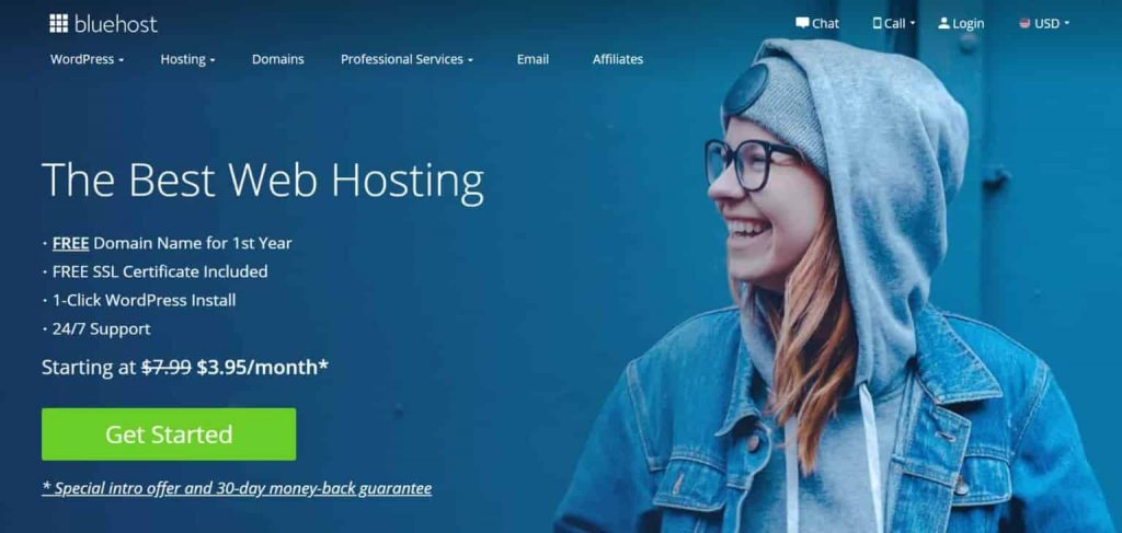 Bluehost hosting home page